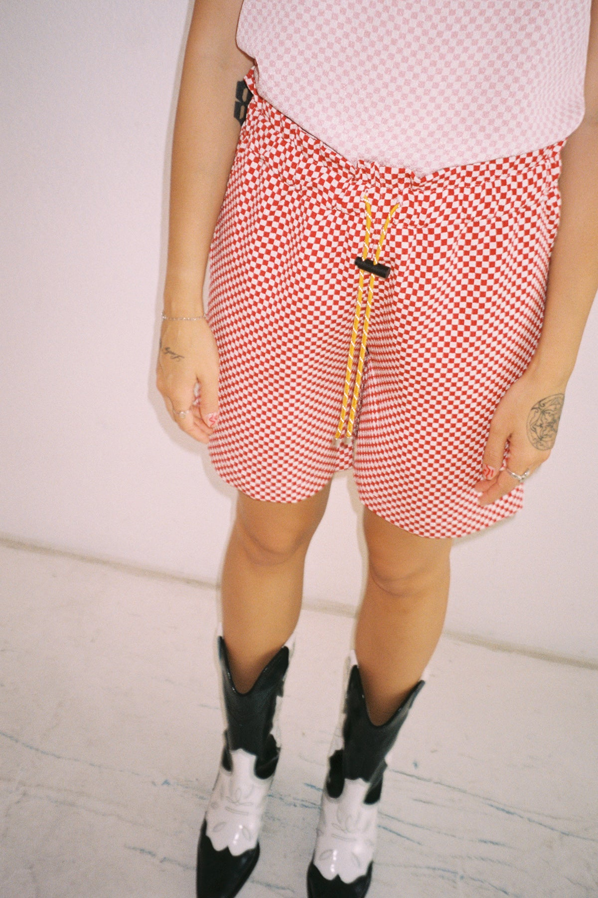 Tidal Short in Red & White Checker