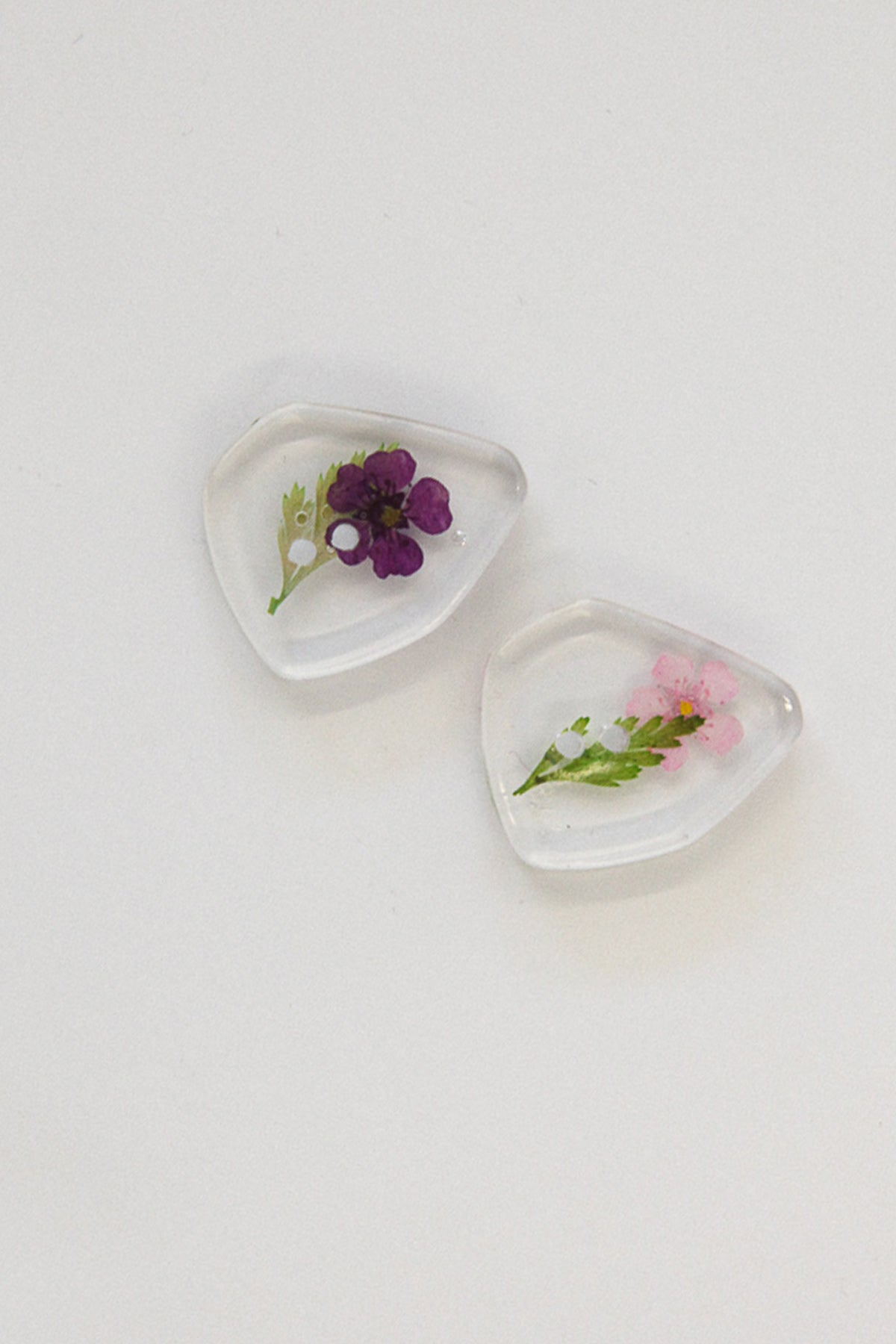 Flower Pressed Lucite Buttons - Asymmetrical