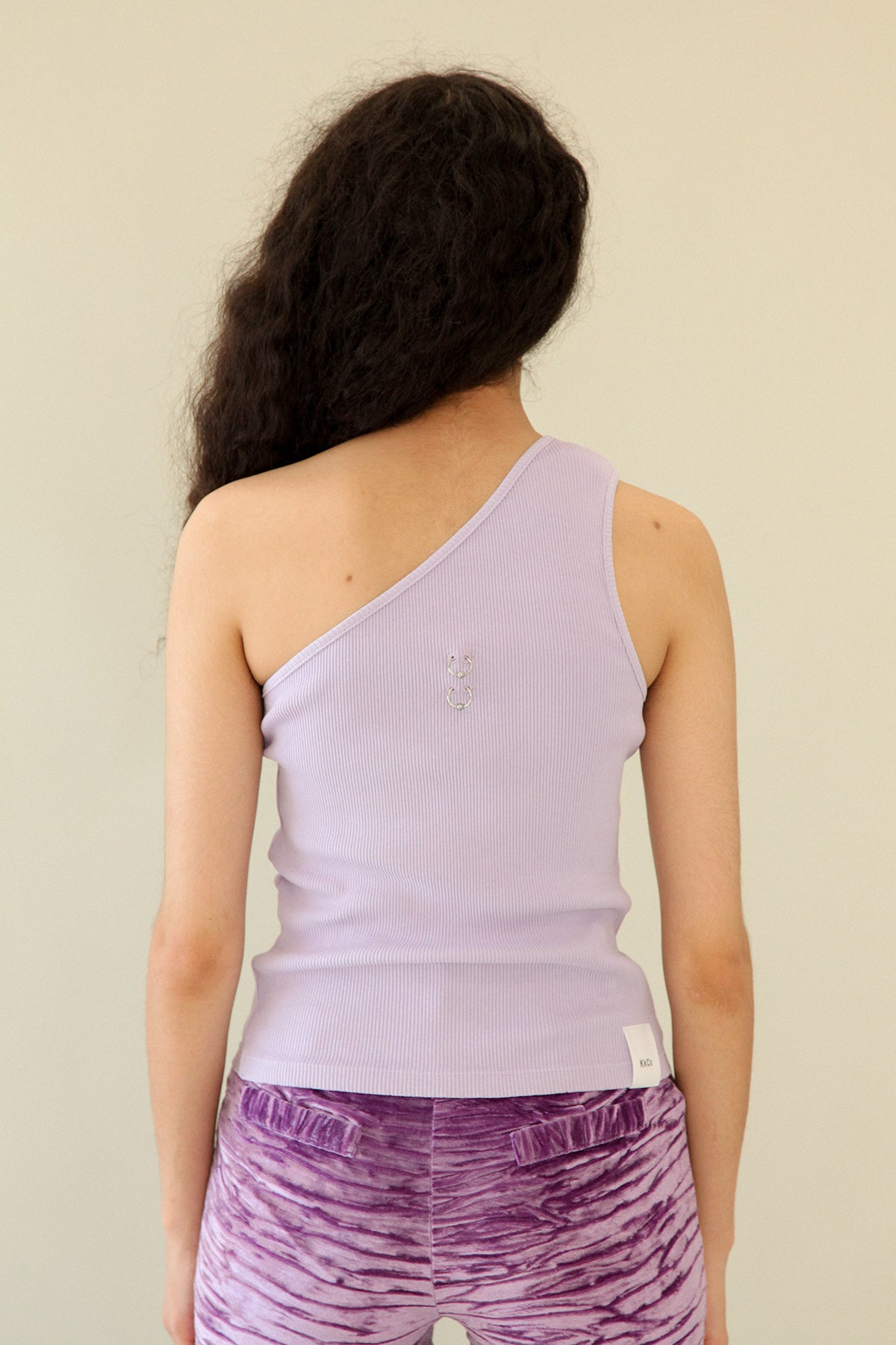 Pierced One Shoulder Rib Tank in Lavender