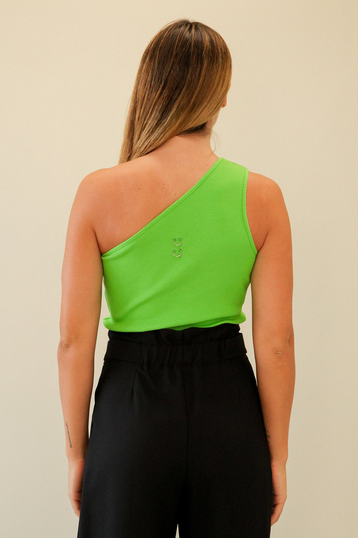 Pierced One Shoulder Rib Tank in Lime
