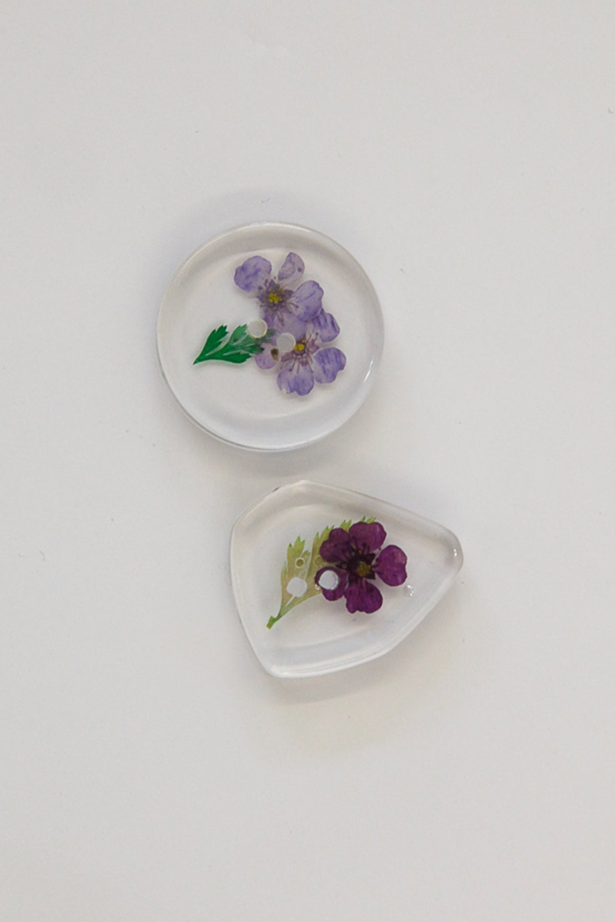 Flower Pressed Lucite Buttons - Mixed