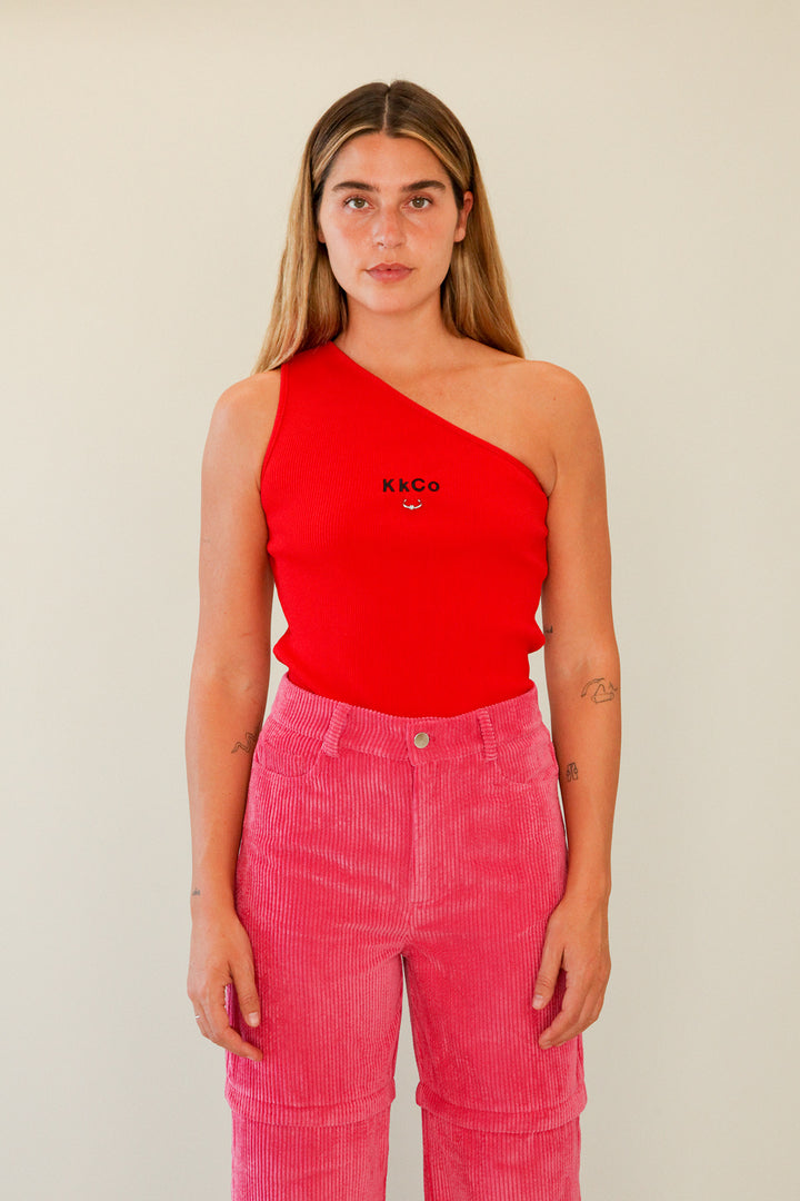Pierced One Shoulder Rib Tank in Red