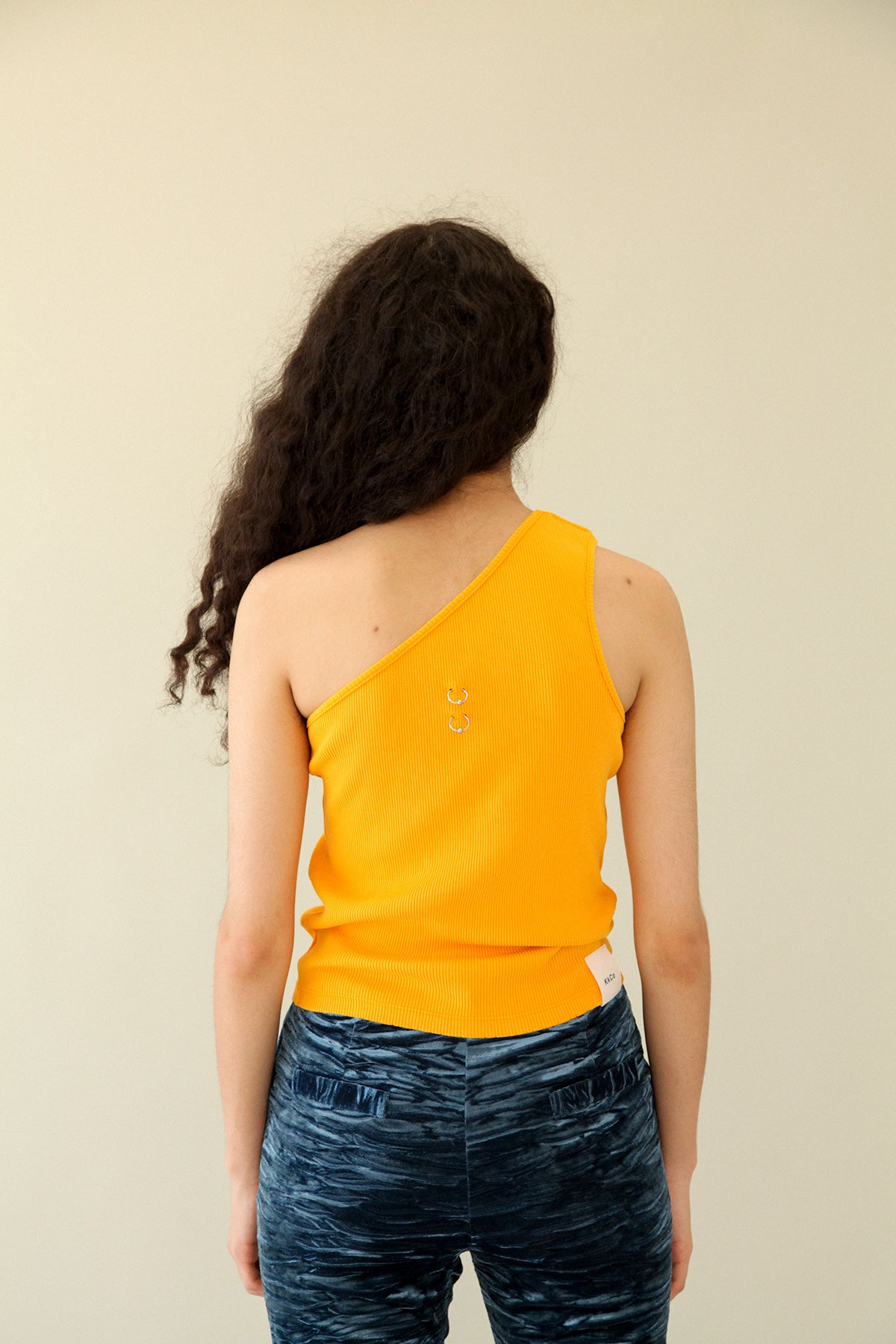 Pierced One Shoulder Rib Tank in Marigold
