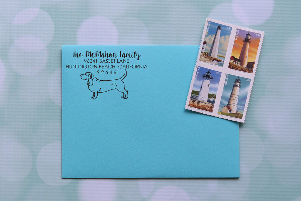 Basset Hound Address Stamp