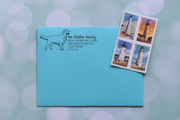 Golden Retriever Address Stamp
