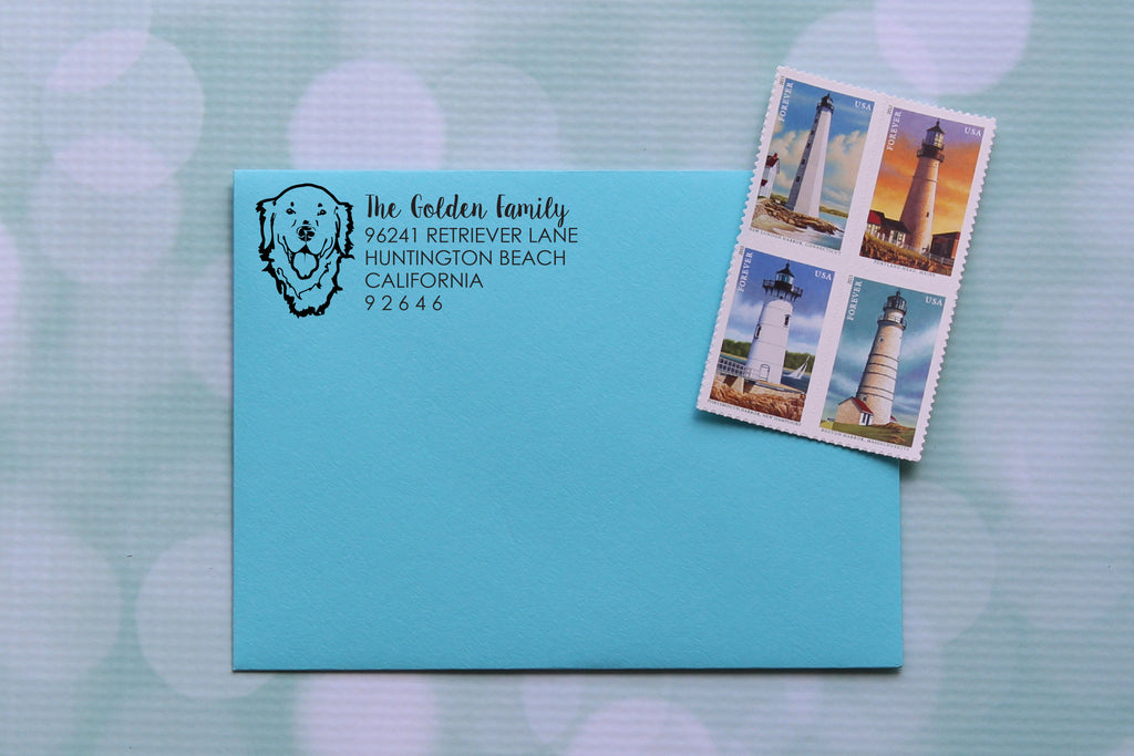 Golden Retriever Face Address Stamp