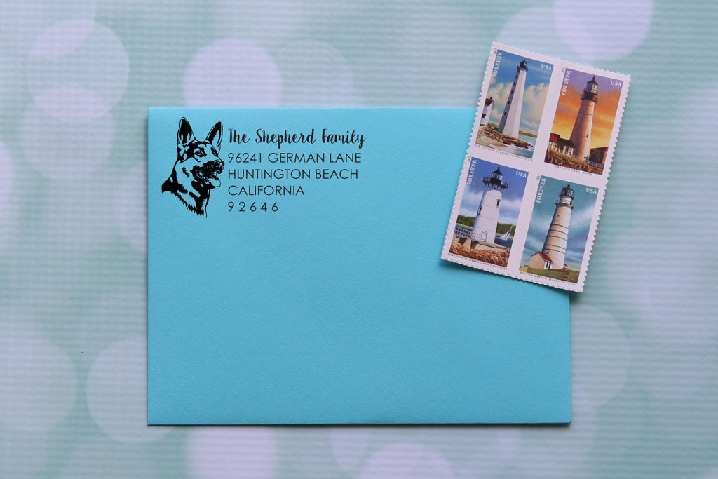 German Shepherd Face Address Stamp