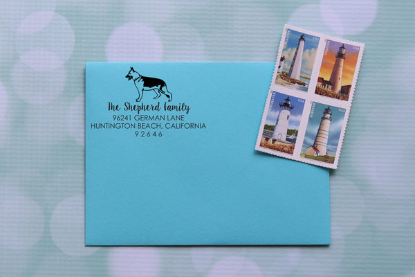 German Shepherd Dog Address Stamp