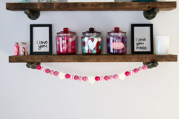 Pink and White Heart Garland