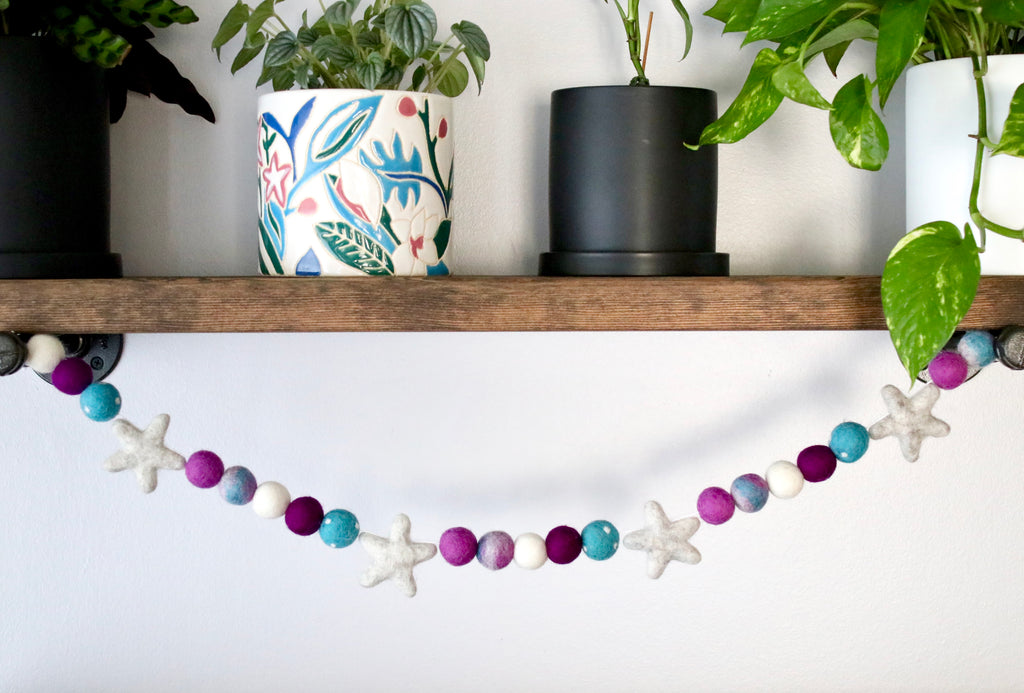 Purple and Teal Tie Dye Garland