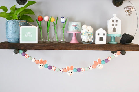 Coral Easter Bunny Garland