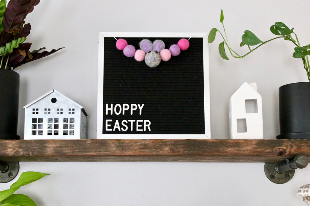 Purple Bunny Letter Board Garland