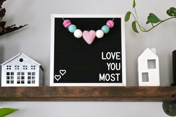 Pink and Aqua Heart Letter Board Garland