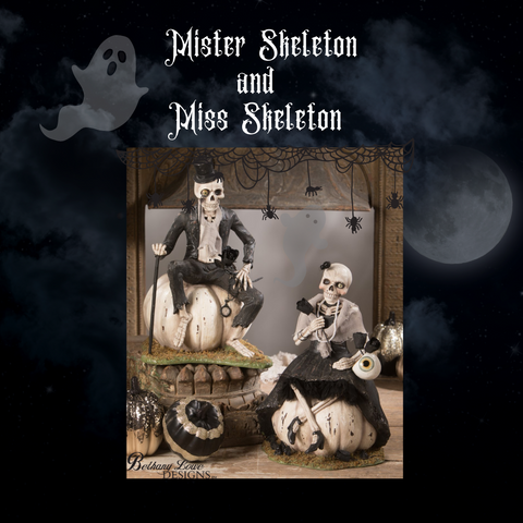 Mister and Miss Skeleton by Bethany Lowe Designs, Halloween Skeleton Decor