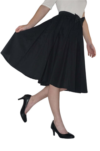 Cotton Circle Skirt with Removable Bow