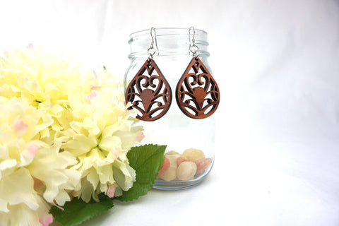 Natural Wood Earrings/Heart Swirl Teardrops