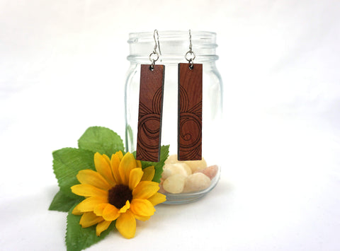 Natural Wood Earrings/Rectangle Swirl