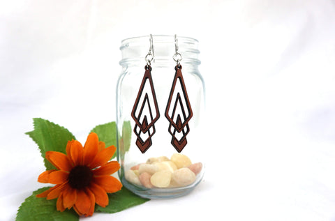 Natural Wood Earrings/Triangle Drops