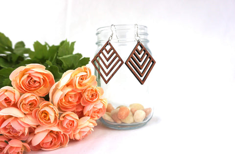 Natural Wood Earrings/Diamond Stripe