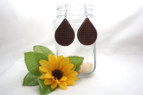 Natural Wood Earrings/Woven Teardrops