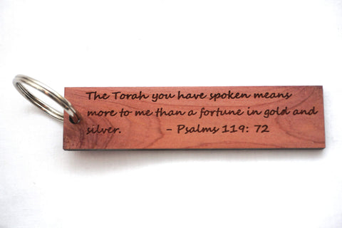More Than Gold/Psalms 119:72 Wooden Keychain