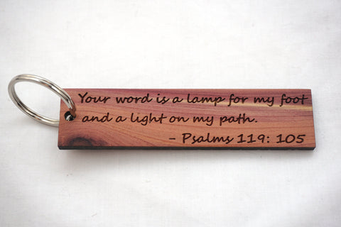 Light On My Path/Psalms 119:105 Wooden Keychain