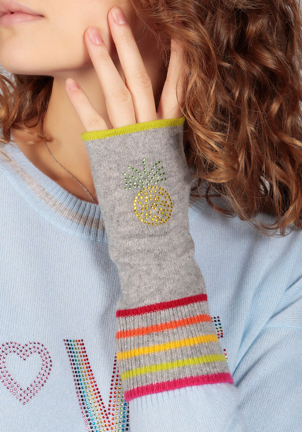 Berlin Mid Grey Cashmere Fingerless Glove - Adeela Salehjee