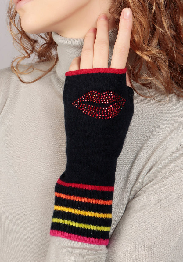 Berlin Navy Cashmere Fingerless Glove - Adeela Salehjee