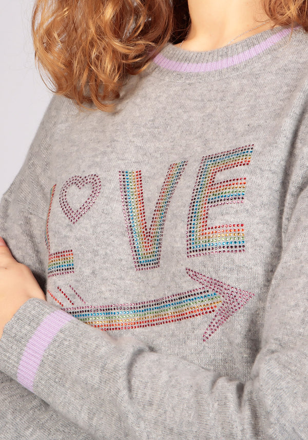 Love Grey Melange Sweater - Adeela Salehjee