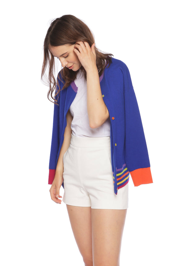 Lucia Deep Blue Sea Reversible Cardigan - Adeela Salehjee