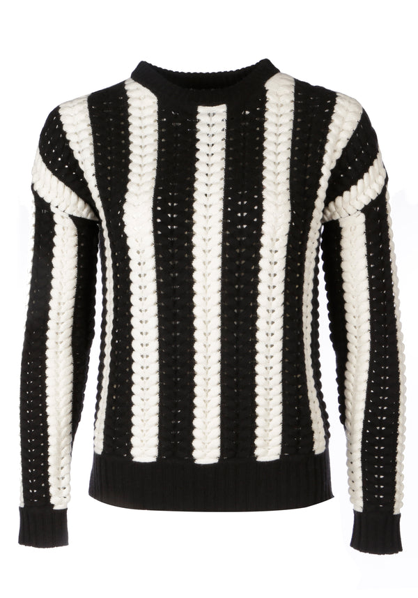 Malmo Monochrome Cable Knit Jumper - Adeela Salehjee