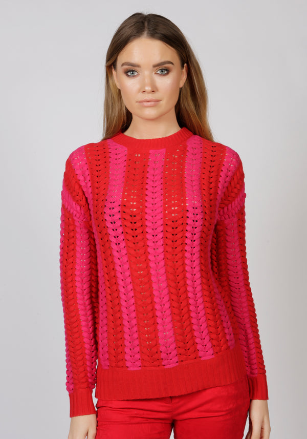 Malmo Red Cable Knit Jumper