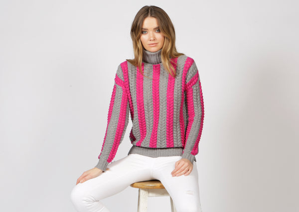 Stockholm Pink Roll Neck Jumper - Adeela Salehjee