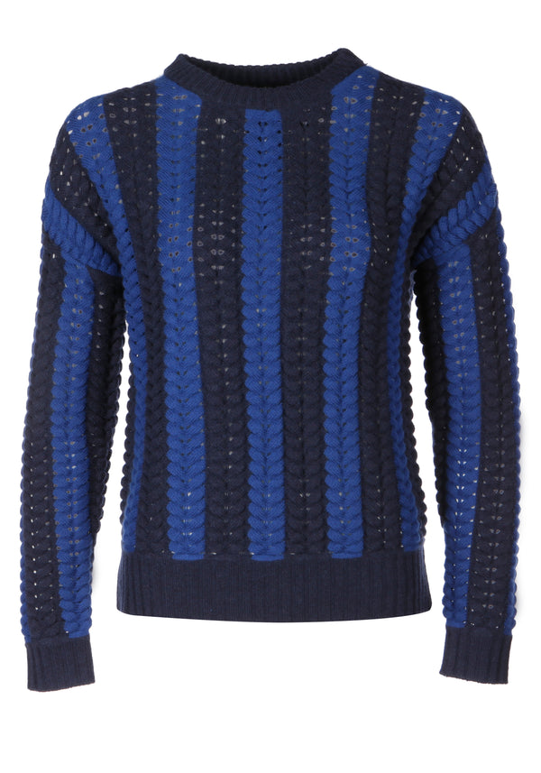 Malmo Blue Cable Knit Jumper - Adeela Salehjee
