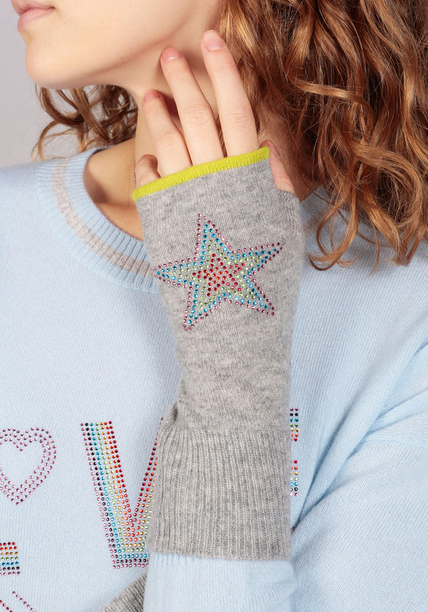 Munich Mid Grey Fingerless Glove in Solid Colour - Adeela Salehjee