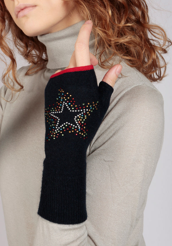 Munich Navy Fingerless Glove in Solid Colour - Adeela Salehjee