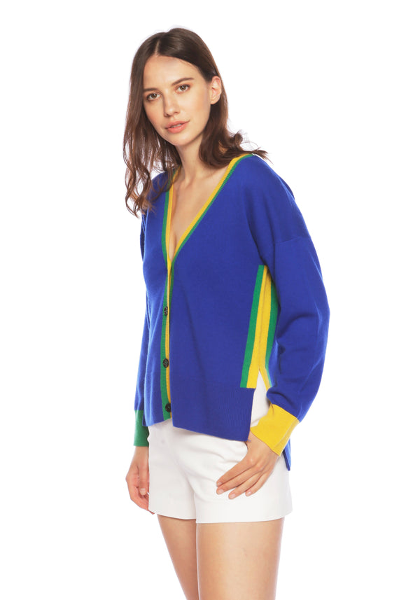 Mustique Deep Blue Sea Cashmere Cardigan - Adeela Salehjee