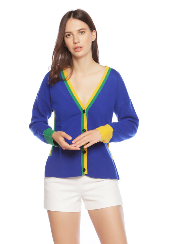 Mustique Deep Blue Sea Cashmere Cardigan