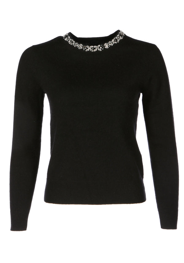 Oslo Black Cashmere Crew Neck Jumper