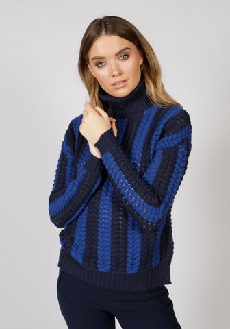 Stockholm Navy Roll Neck Jumper