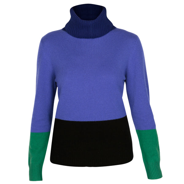 Capri Deep Blue Lightweight Roll Neck - Adeela Salehjee