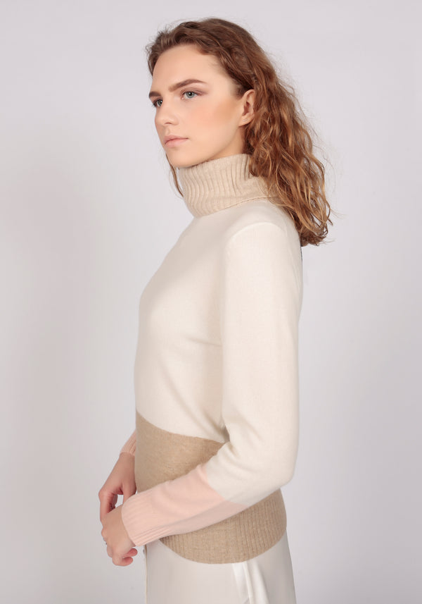 Capri Natural White Lightweight Roll Neck - Adeela Salehjee