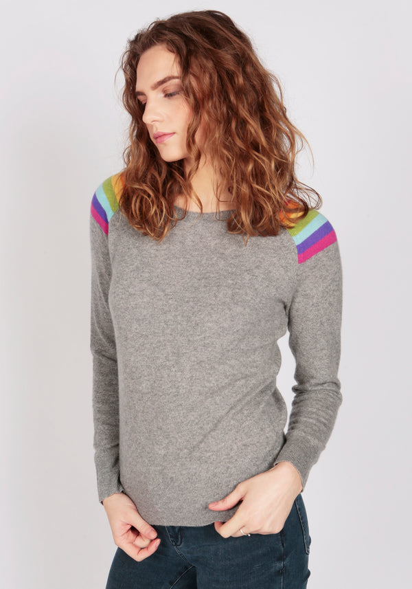 Hawaii Mid Grey Melange Lightweight Crew Neck - Adeela Salehjee