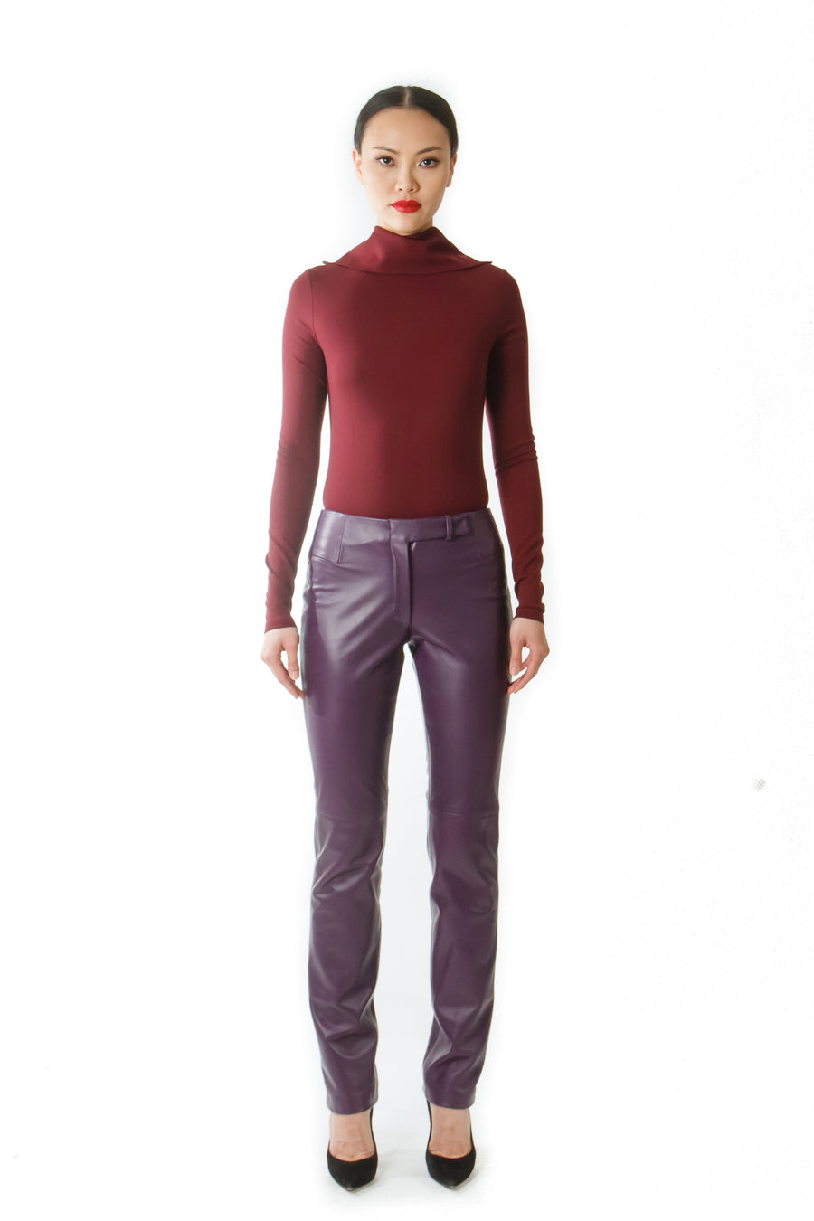 PURPLE LEATHER PANTS