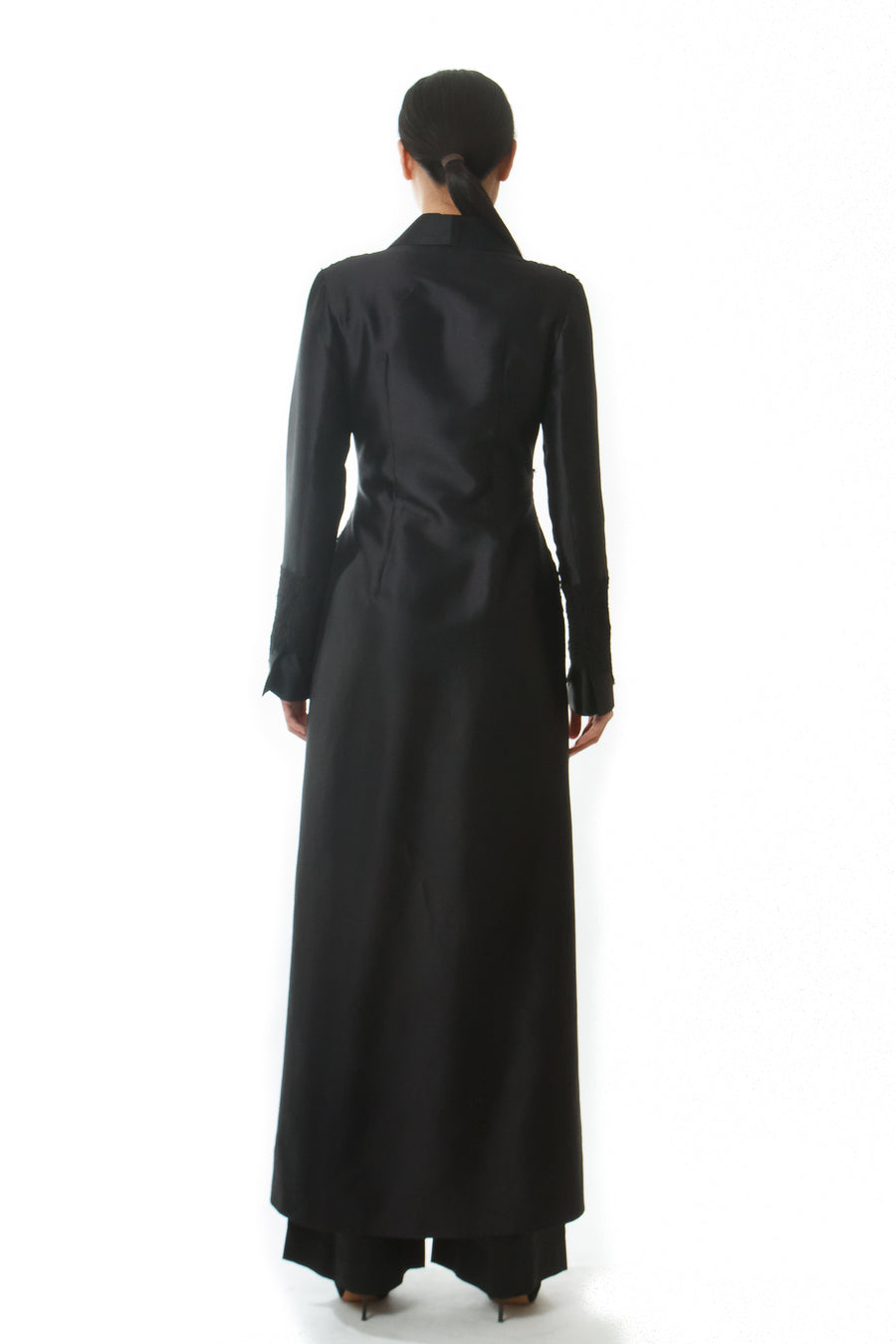 SILK WOOL EVENING COAT
