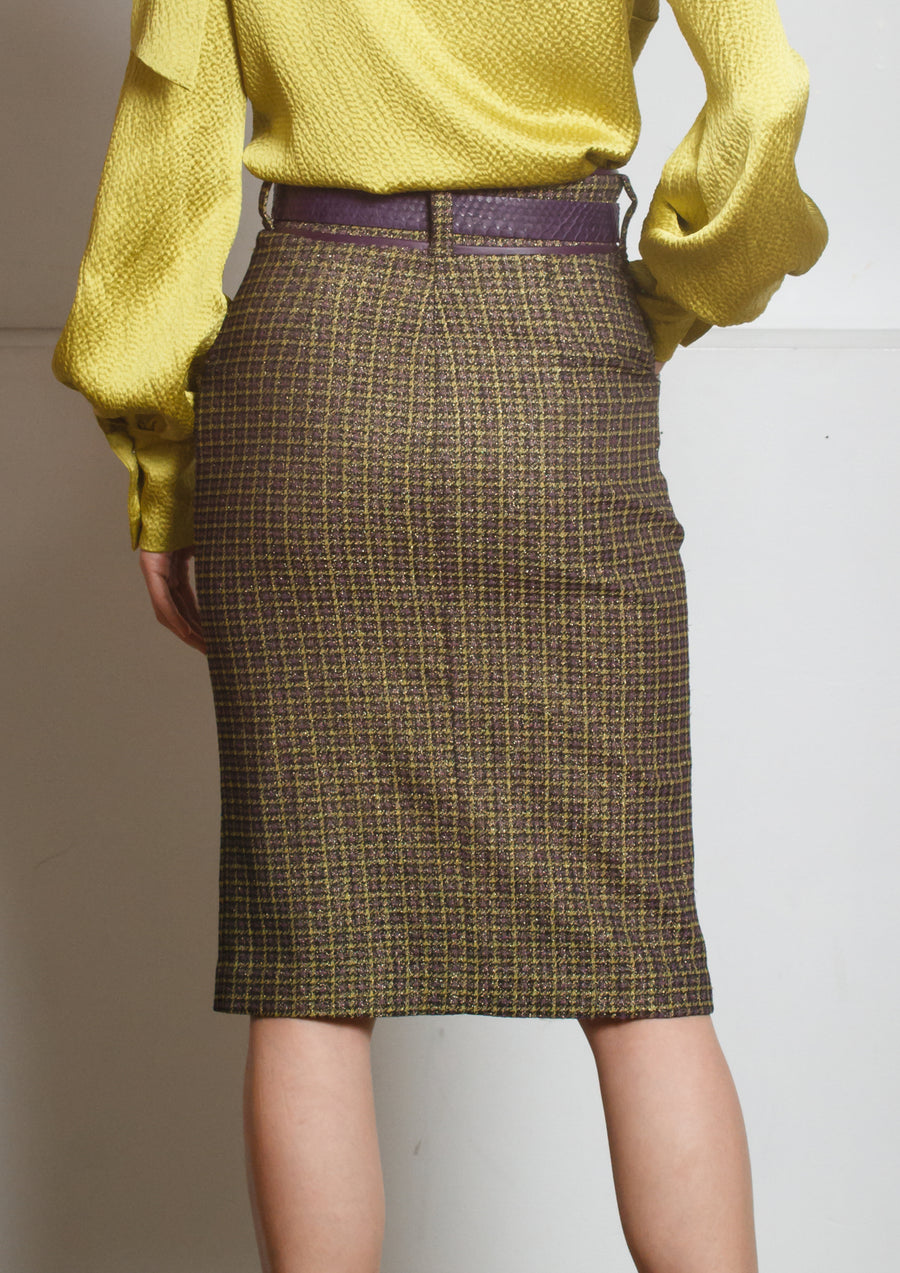 WOOL CHECK BUTTON SKIRT