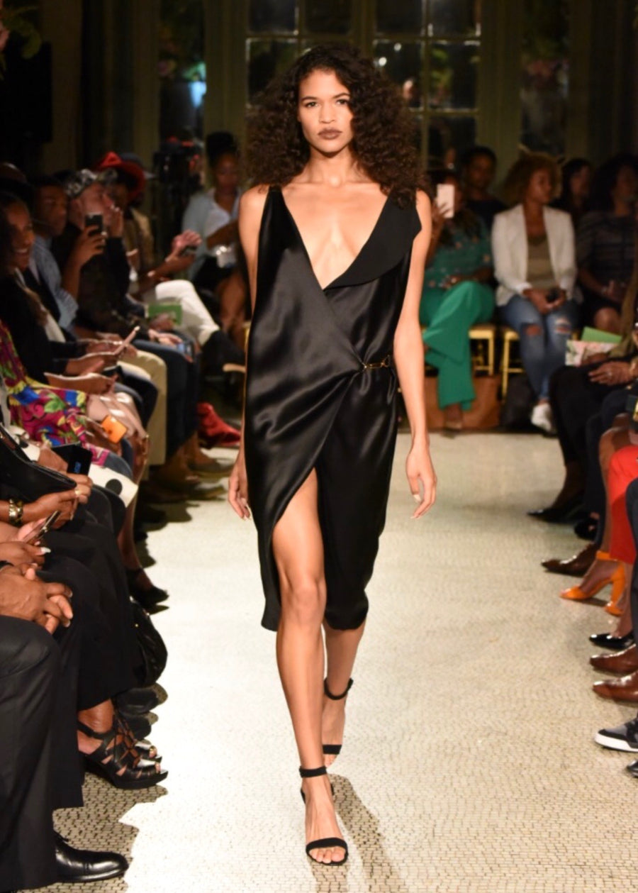 BLACK SILK WRAP DRESS