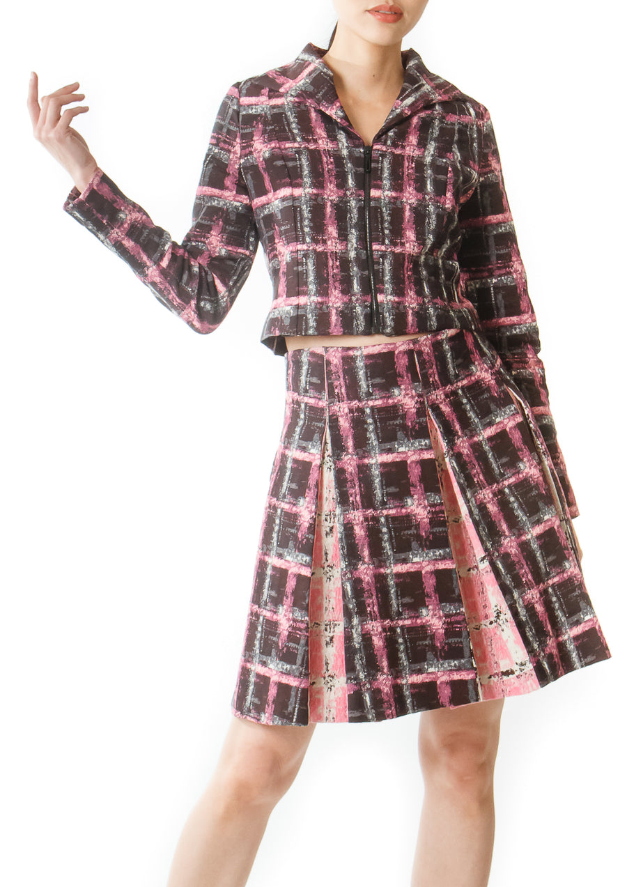 PINK PLAID PLEATED SKIRT