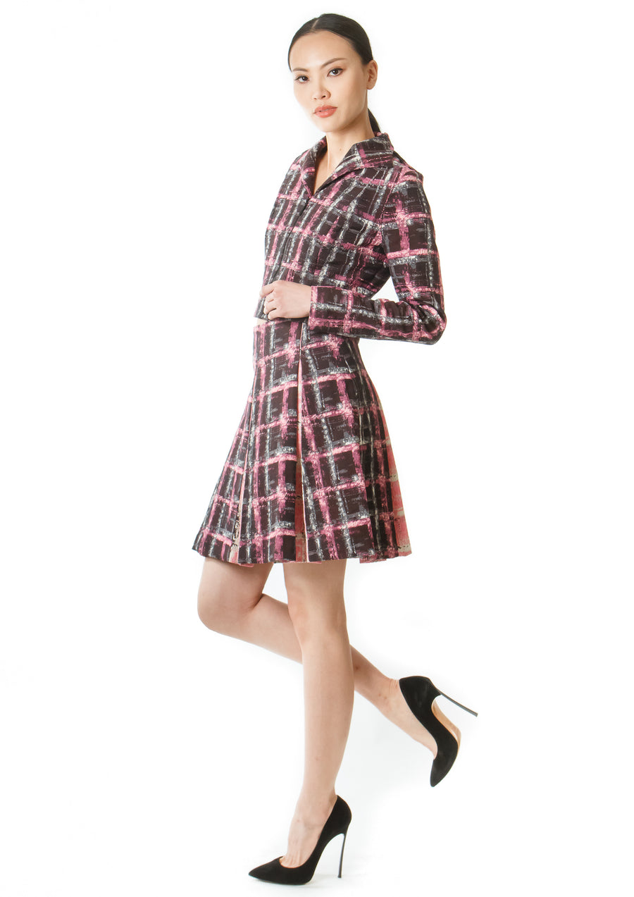 PINK PLAID MINI JACKET