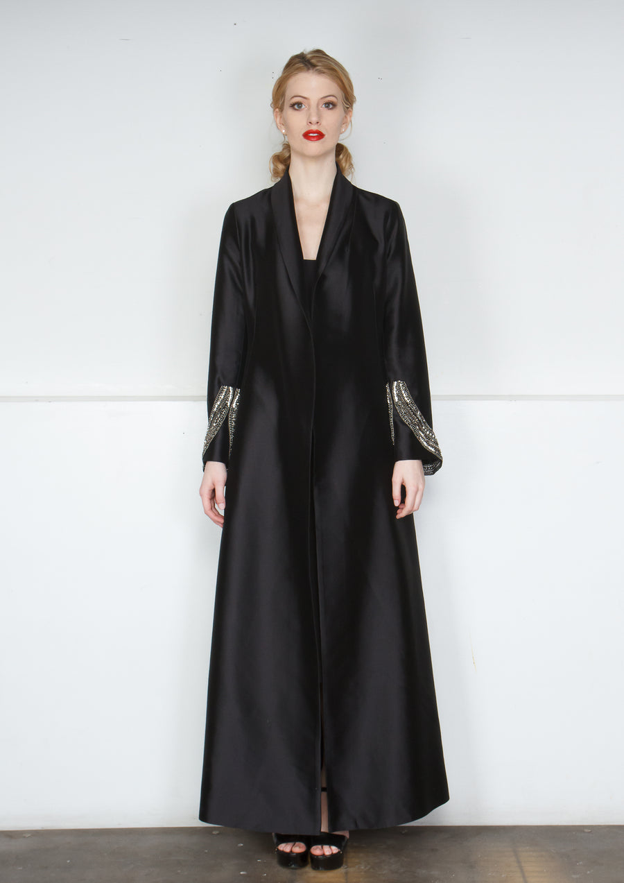 SILK WOOL BEADED COAT